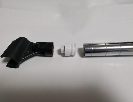 shureマイクホルダーとルミナス22mmパイプアダプター